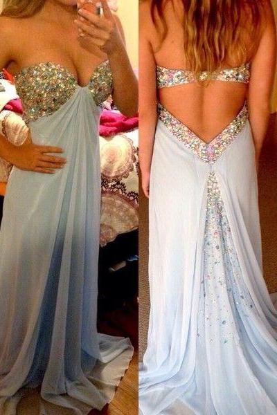 Sexy A Line Beading Long Prom Dress,Beaded Evening Dress, Backless Evening Dress, Open Back Sexy Occasion Dress