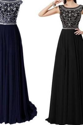 Handmade Beaded Round Neckline V-back Prom Dress