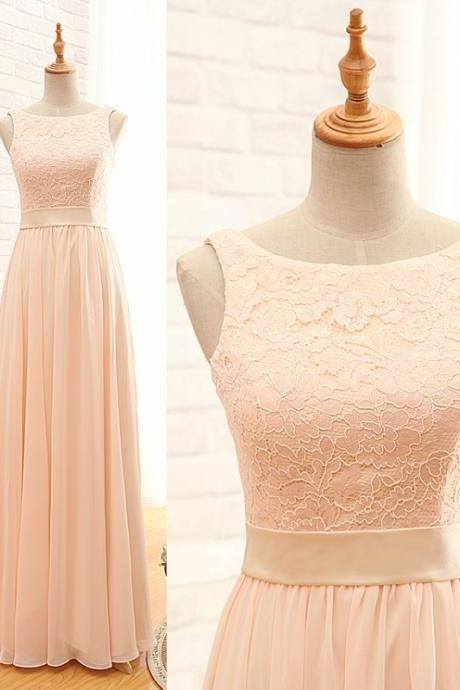 Long Sheath Column Bateau Blush Bridesmaid Dress