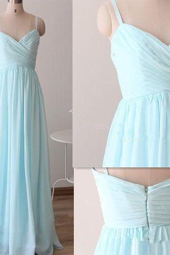 Spaghetti Straps Sky Blue Bridesmaid Dresses,Chiffon Cheap Wedding Party Dresses,Occasion Dresses