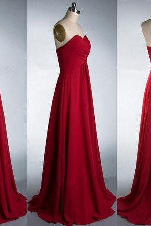 Cheap A-line Red Chiffon Bridesmaid Dresses,Prom Dresses,Occasion Dresses,Wedding Party Dresses
