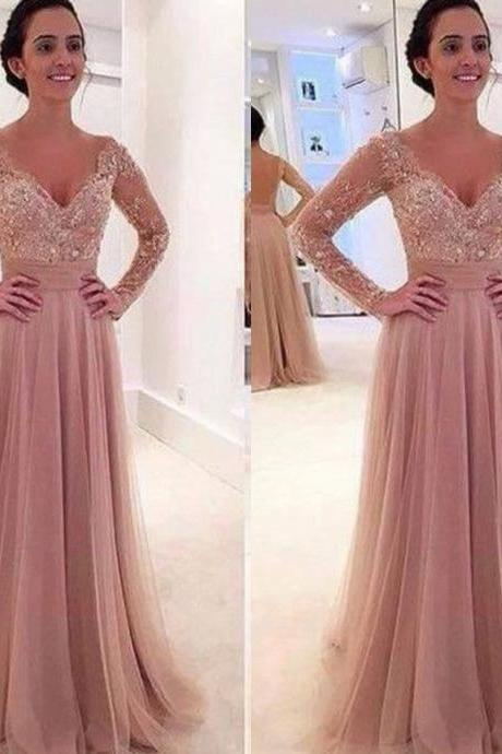 Free Shipping Long Sleeves Lace Prom Dress,Deep V-neck Graduation Dress,Sexy Open Back Evening Party Dress,Blush Lace Occasion Dress