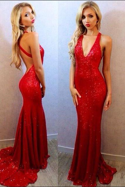 Sexy Open Back Sequins Prom Dress,Mermaid Red Evening Dress,Sexy Red Sequins Party Dresses,Red Sequins Graduation Dress