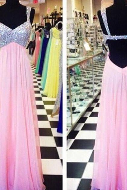Long Pink Prom Dress,Backless Beaded Graduation Dress,Sexy Straps Open Back Formal Party Dresses