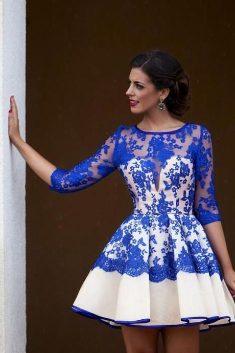 Sexy See Through Lace Above Knee Party Dress Royal Blue Short Lace Prom Dress With Sleeves