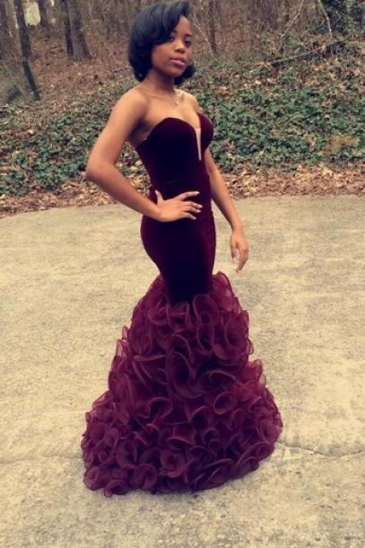 Vestido De Festa Longo Mermaid Burgundy Prom Dresses 2016 Sweetheart Fashion Ruffled Organza Robe De Soiree Abendkleider Sexy