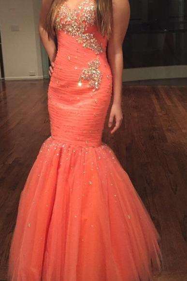 Cheap Prom Dresses Elegant Orange Sweetheart Lace Up Long Party Dress Gowns Prom Dress Sleeveless Formal Dresses