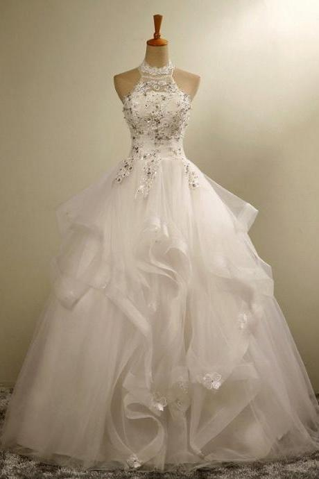 Ball Gown Wedding Dresses Lace Halter Ivory Crystal Vestido De Novias Tulle Organza Bride Dresses Custom Made Wedding Gown