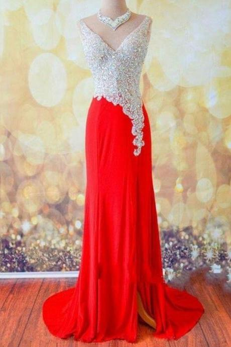 Sexy Red Prom Dresses V Neck Shining Crystal Open Back Evening Gown A Line Silt Side Chiffon Vestidos De Festa 2016 Custom Made