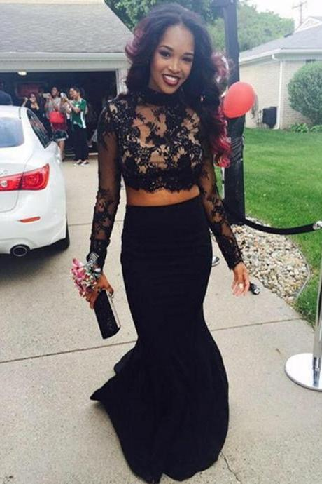 Hot Sale Black 2 Piece Prom Dresses 2016 Long Elegant Mermaid Lace Prom Dress Formal Gowns Vestido De Vesta