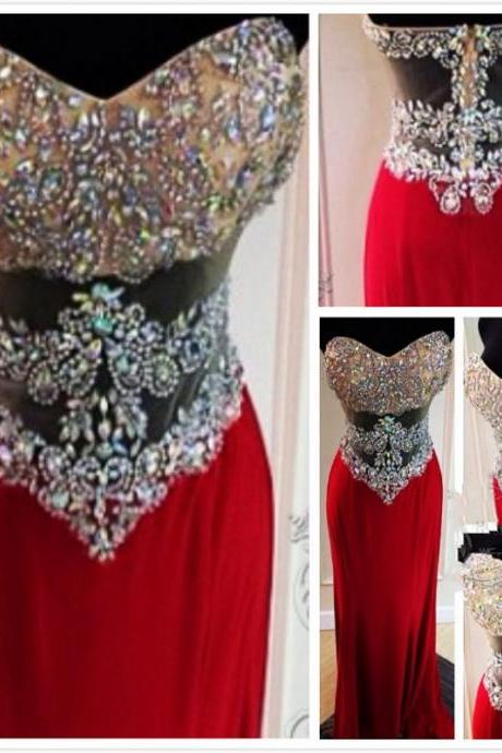 Latest Real Evening Dresses 2016 Sweetheart Wine Red Chiffon Long Crystal Rhinestone See Through Slim Prom Dress