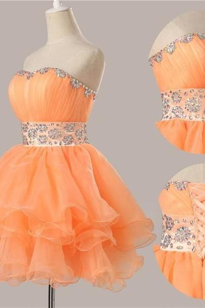 New Fashion Off The Shoulder Beads Short Prom Dress orange Short orange Homecoming Dress