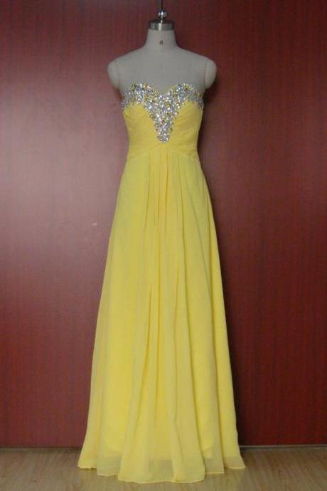 Real Photo! Long Yellow Evening Dress Stunning Gown New Arrival Formal Dresses Straight Beading Chiffon Stock