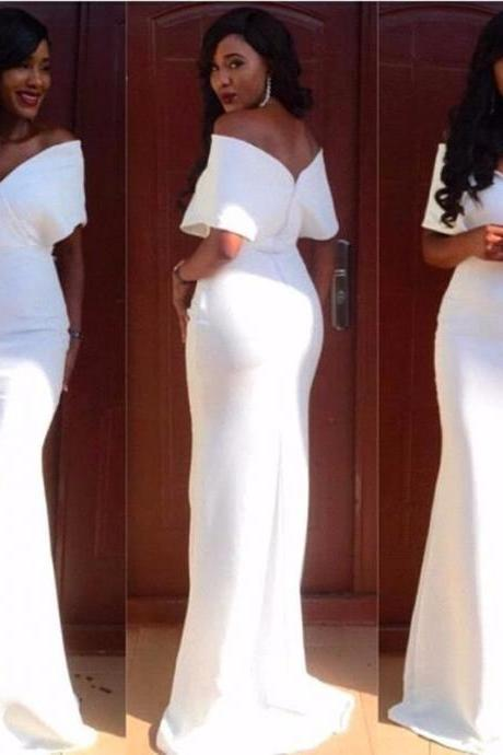 Sexy White Long Mermaid Evening Dress Women Formal Evening Gowns Party Dresses vestido de festa longo