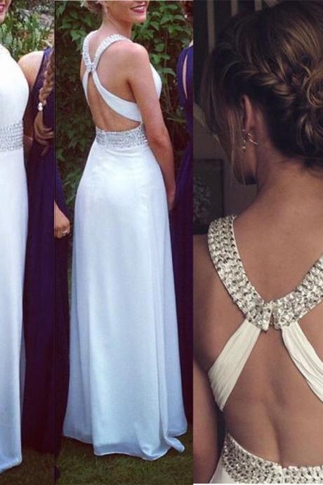 Sexy Cross Open Back Evening Dresses White Beaded Chiffon Evening Gowns Formal Dress Long Prom Dresses Robe De Soiree
