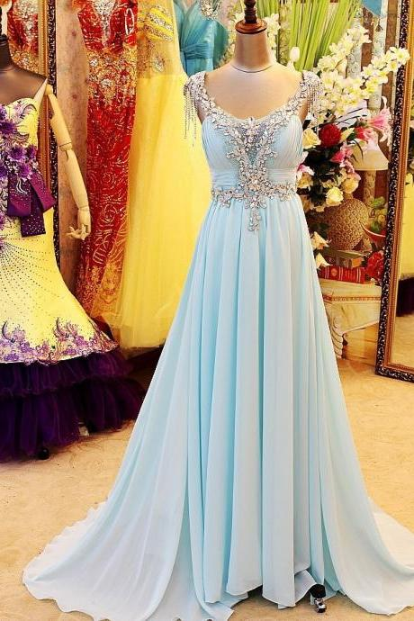 Real Image Luxurious Light Sky Blue V Neck Floor Length Open Back Beading Crystal Evening Dresses Prom Dresses Plus Size