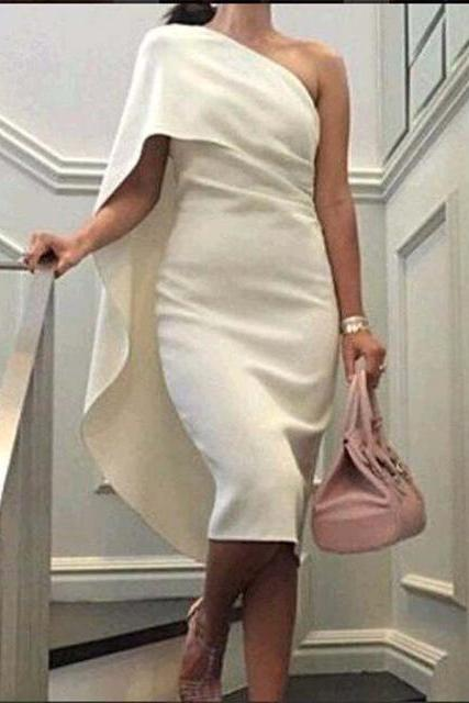2016 New Saudi Arabia Dress Cheap Robe De Cocktail Ivory One Shoulder Straight Party Dress Mid-Calf Dubai Cocktail Dress