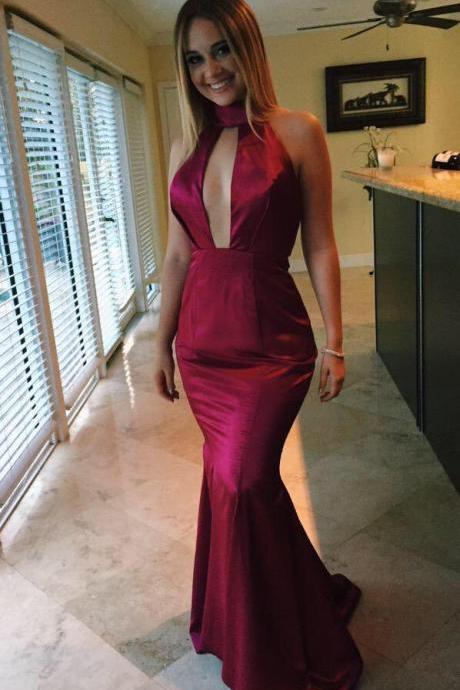 2016 Evening Dress Sexy Cheap New Arrival Burgundy/Red Wine Mermaid Cutout Backless Satin Long Formal Prom Party Gowns Vestidos