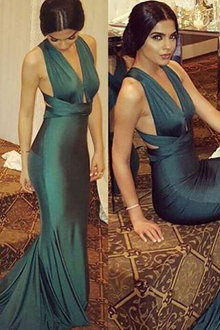 2016 Prom Dresses Sexy Dark Green Deep V-neck Mermaid Sheer Rhinestones Crystal Backless Formal Evening Party Gowns robes de bal