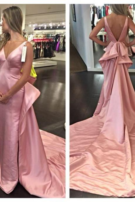 2016 Sexy Prom Dresses A-Line Pink V-neck Satin Backless Long Formal Evening Party Gowns Vestidos robes de bal