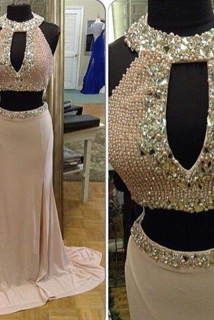 2015 Real Iamge Picture Luxury Bling Sparkle Evening Dresses Two 2 Pieces Crew Pearls Rhinestones Beads Satin Long Formal Prom Party Gowns