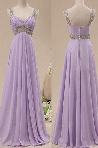 2016 Real Image Bridesmaid Dresses Lavendar V-neck Ruched Beads Chiffon Long Formal Prom Party Gowns Vestidos