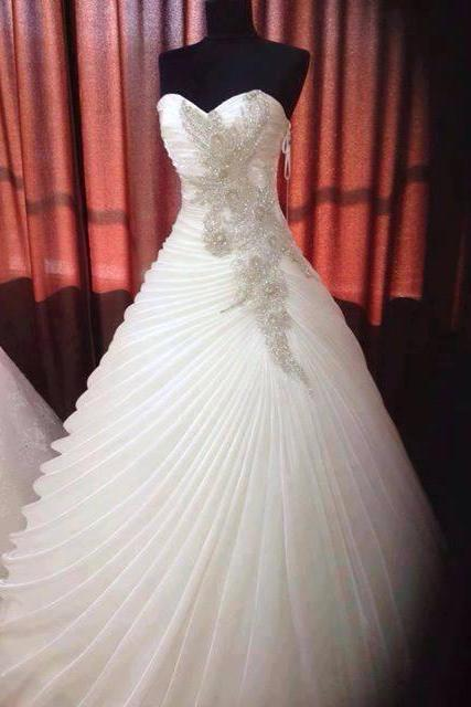 2016 Real Image Wedding Dresses Vestidos de Novia Ball Gown Sweetheart Crystals Beads Wedding Dress Bridal Gowns