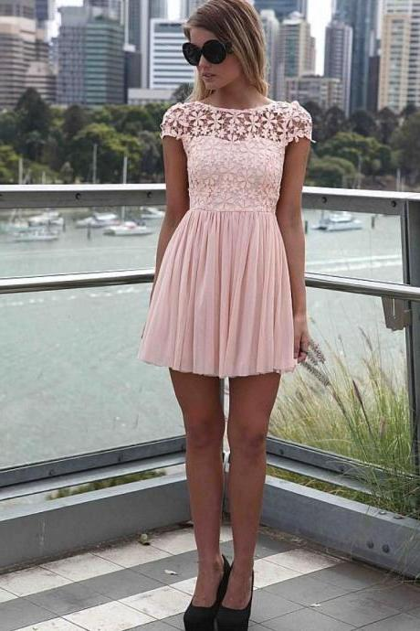 Embroidered, Lace Top Dress, with Tulle Pleated Skirt, short prom dress, backless homecoming dress