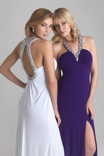 Elegant, handmade, A-line, long, graduation dress,V neck, Backless, Crystal prom dress