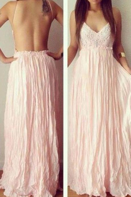 Elegant, pink, handmade, A-line, long, graduation dress, Sweetheart prom dress