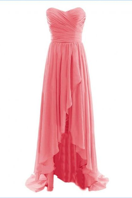 Cute, Diyouth, Sweetheart, Hi-Lo, Long, Pleats Prom Dress, Champagne, For Teens