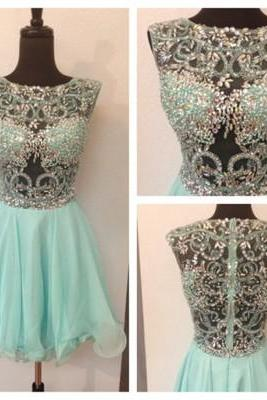 Short Homecoming Dresses,Mint Homecoming Dresses,A-Line Homecoming Dresses,Beading Homecoming Dresses,Girls Dress For Homecoming