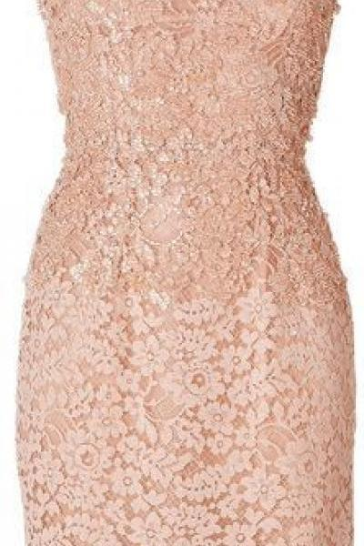 Pink Beaded Lace Homecoming Dress,Sleeveless Short Prom Dress,Sexy Tight Lace Flowers Homecoming Dress