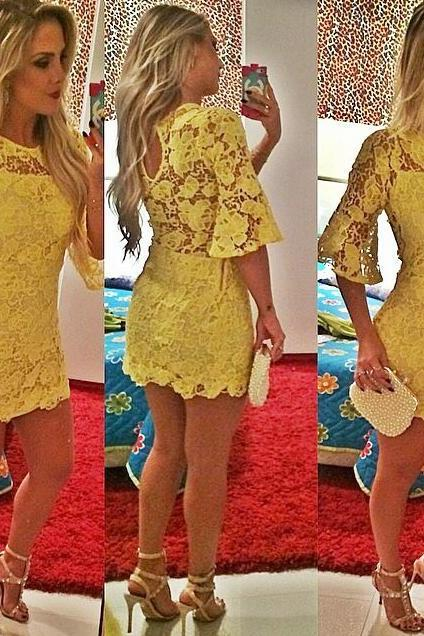 2016 Lace Half Sleeve Homecoming Dresses,Sexy Evening Dresses,Short Cocktail Dresses,Yellow Mini 2016 Popular Prom Dresses