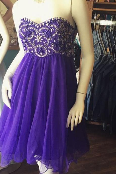 Chiffon Homecoming Dresses,Sweetheart Evening Dresses,Beaded Cocktail Dresses, Grape 2016 Popular Homecoming Dresses