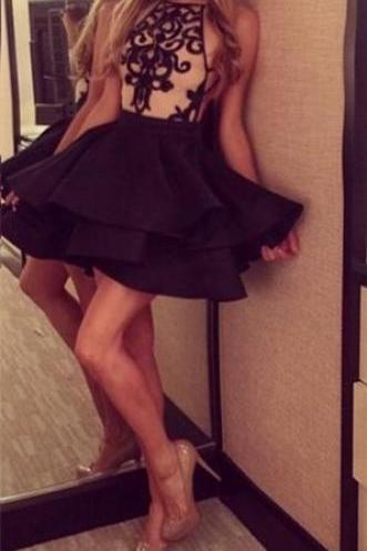 2016 Black Halter Homecoming Dress, Open Back Applique Homecoming Dress, Ruffles Skirt Short Cocktail Dress