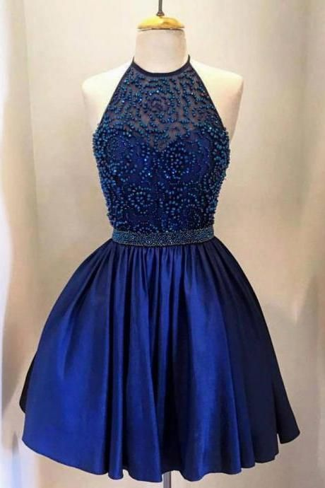 2016Royal blue halter homecoming dress, Sexy Halter homecoming dress, short beading homecoming dress