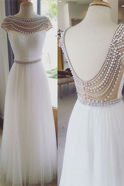 Charming Prom Dress,Beading Prom Dress,O-Neck Popular Long Dress For Party
