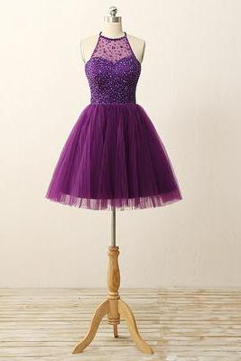 2016 Custom Purple Homecoming dresses, Sexy Open Back Prom Dresses, Beaded Homecoming Dresses, Tulle Party Dresses,Halter Cocktail Dresses