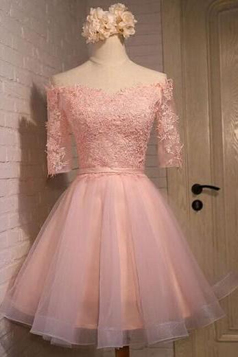 2016 Custom Long sleeve Homecoming dresses, Pink Lace Prom dresses, Off Shoulder Party dresses,Elegant Homecoming dresses, Custom prom dresses