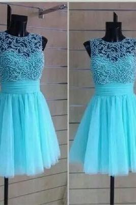 2016 Turquoise Homecoming Dress, Beading Prom Dress,Sexy Sleeveless Party Dress, Tulle Evening Dress