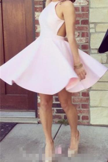 2016 sexy pink homecoming dress, open back prom dress,cute short homecoming dress, backless homecoming dress,cute short prom dress