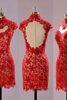 Pretty Red Tight Homecoming Dress,Lace Prom Dress,See Through Party Dress,Open Back Prom Dress,Short Evening Dress