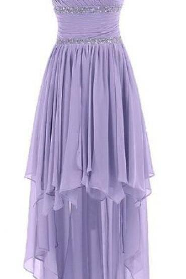 Cute One Shoulder Prom Dress, HIgh Low Lavender Chiffon Evening Dress