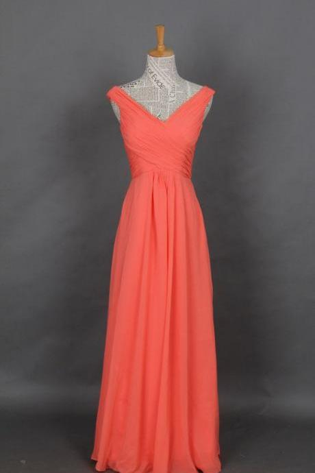 Chiffon Prom Dress, Coral Straps V-neck Long Prom Dress, Evening Dress, Party Dress