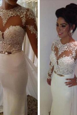2016 Customized White Lace Wedding Dress,Sexy See Through Long Sleeves Evening Dress,Deep V-Neck Wedding Gowns