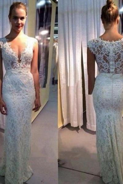 2016 Customized White Lace Wedding Dress,Sexy See Through Sleeveless Evening Dress,Deep V-Neck Wedding Gowns