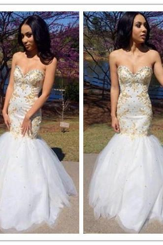 2016 Customized Long Beading Tulle Prom Dress,Sexy Sweetheart Strapless Evening Dress,Sheath Mermaid Prom Dress