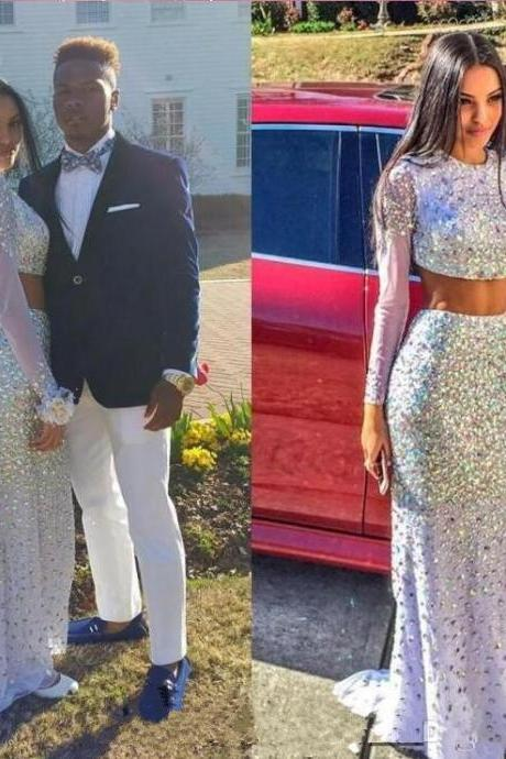2016 Customized Sexy Two Pieces Prom Dress,Sexy Long Sleeves Evening Dress,Shiny Sequins Prom Gowns
