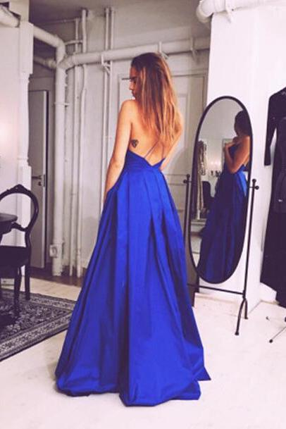 Charming Royal Blue Prom Dress,Sexy Sleeveless Evening Dress,Sexy Open Back Prom Dress